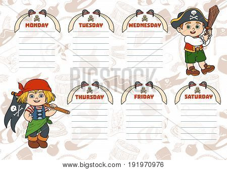 School Timetable For Children With Days Of Week. Cartoon Characters Of Pirates