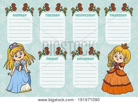 School Timetable For Children With Days Of Week. Cartoon Characters Of Princesses