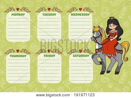 School timetable for children with days of week. Color cartoon princess on horseback
