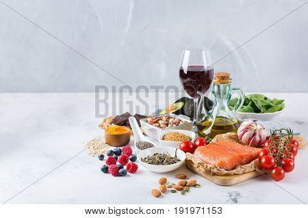 Assortment Of Healthy Food Low Cholesterol