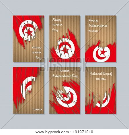 Tunisia Patriotic Cards For National Day. Expressive Brush Stroke In National Flag Colors On Kraft P