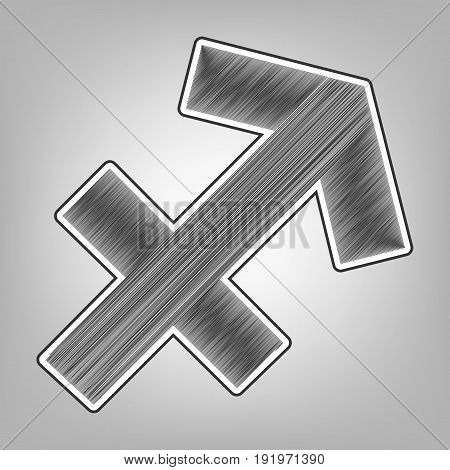 Sagittarius sign illustration. Vector. Pencil sketch imitation. Dark gray scribble icon with dark gray outer contour at gray background.