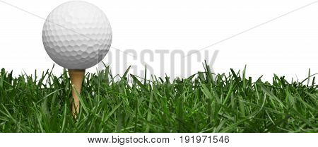 White ball isolated grass tee golf golf