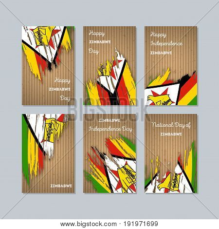 Zimbabwe Patriotic Cards For National Day. Expressive Brush Stroke In National Flag Colors On Kraft