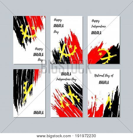 Angola Patriotic Cards For National Day. Expressive Brush Stroke In National Flag Colors On White Ca