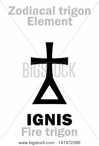 Astrology Alphabet: IGNIS Trigon (Element of Fire / Energy), the frailty and perishability of Being. Hieroglyphics character sign (single symbol).
