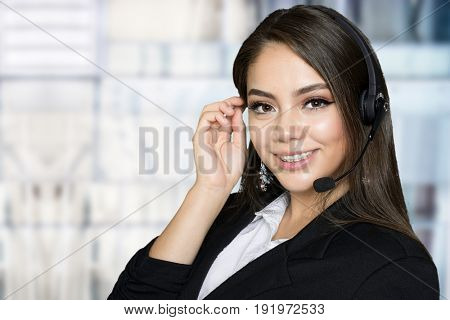 Hispanic businesswoman who is happy at her job