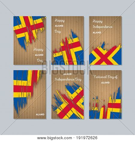 Aland Patriotic Cards For National Day. Expressive Brush Stroke In National Flag Colors On Kraft Pap