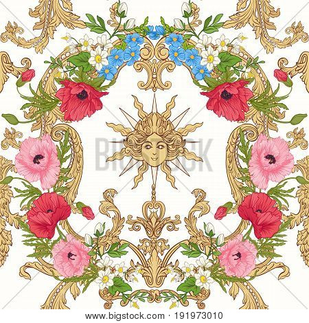 Seamless pattern with poppy flowers, daffodils, anemones, violets in botanical vintage style with rococo decor on white background . Stock line vector illustration.