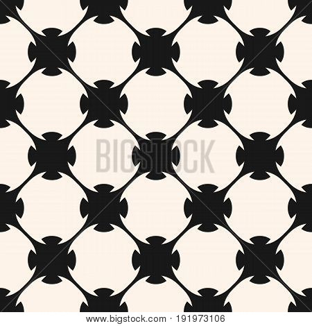Vector seamless pattern. Monochrome abstract geometric texture. Stylish design in Arabian style, traditional motif in modern digital rendition. Rounded lattice, floral shapes, repeat tiles. Design pattern, textile pattern, cloth pattern.