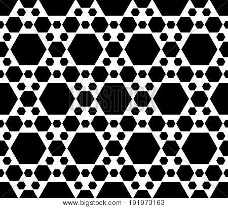Seamless pattern. Vector monochrome texture, black & white geometric background with different sized hexagons, repeat hexagonal grid. Simple abstract backdrop for tileable print, stamping, decoration, digital.