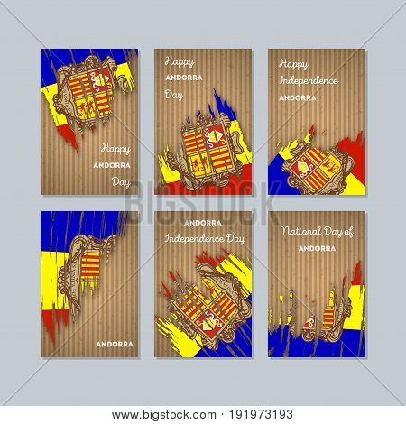 Andorra Patriotic Cards For National Day. Expressive Brush Stroke In National Flag Colors On Kraft P