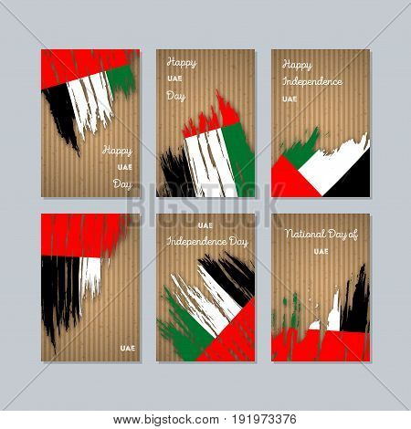 Uae Patriotic Cards For National Day. Expressive Brush Stroke In National Flag Colors On Kraft Paper