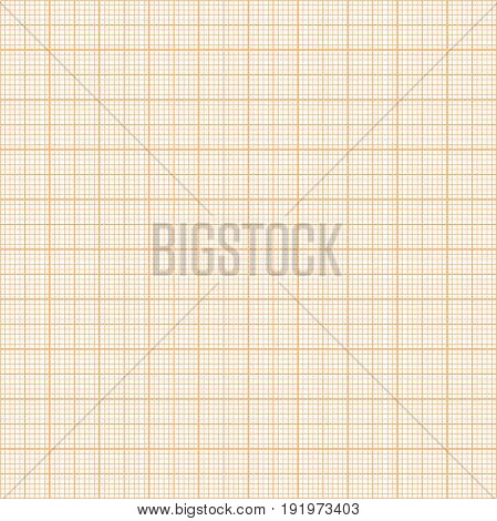 Vector orange metric graph paper seamless pattern, 1mm grid accented every centimeter