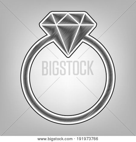 Diamond sign illustration. Vector. Pencil sketch imitation. Dark gray scribble icon with dark gray outer contour at gray background.