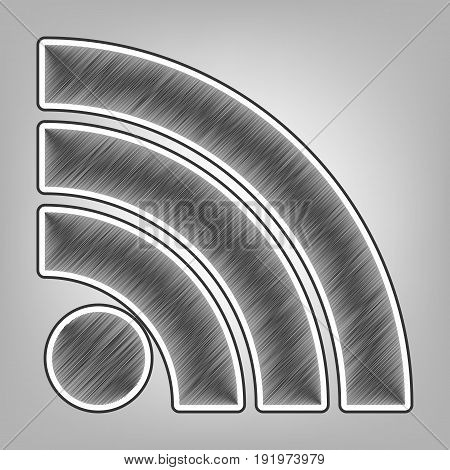RSS sign illustration. Vector. Pencil sketch imitation. Dark gray scribble icon with dark gray outer contour at gray background.