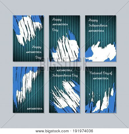 Antarctica Patriotic Cards For National Day. Expressive Brush Stroke In National Flag Colors On Dark