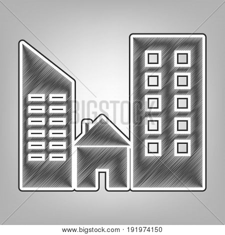 Real estate sign. Vector. Pencil sketch imitation. Dark gray scribble icon with dark gray outer contour at gray background.