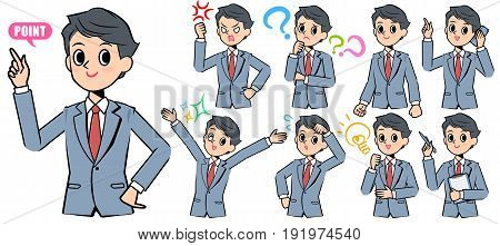 Set of various poses of Gray suit business man smart