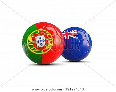 Two Footballs With Flags Of Portugal And New Zealand Isolated On White
