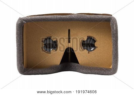 cardboard virtual reality glasses isolated front view