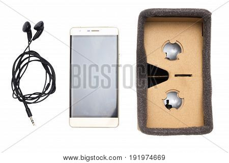 cardboard virtual reality glasses isolated top view