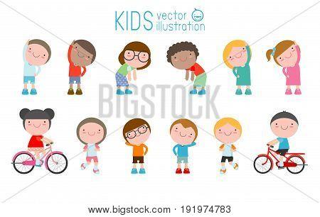 Kids exercising, children stretching ,child exercising , happy Kids Exercising, flat cute cartoon design vector illustration.