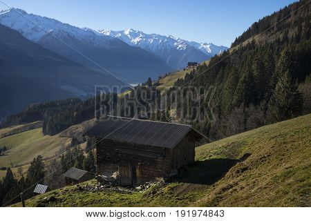Hut With A View On The Snowy Mountains, Tirol Austria