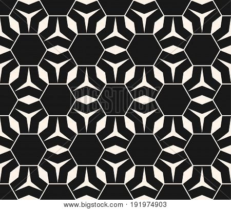 Subtle vector monochrome seamless pattern. Abstract geometrical background. Delicate linear texture with geometric floral figures, triangles, rhombuses, hexagonal grid. Dark design for prints, covers.