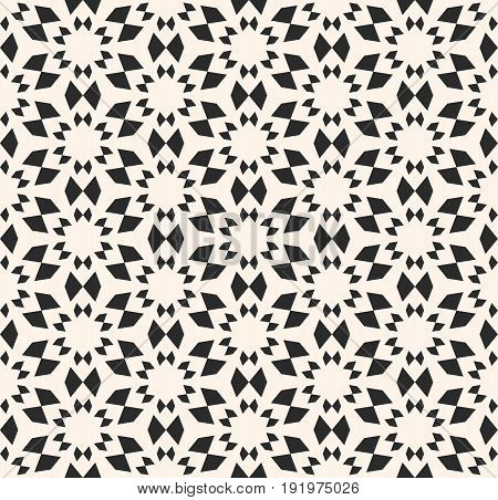 Vector seamless texture. Floral tile pattern. Abstract monochrome geometric background. Simple geometrical shapes. Abstract stars pattern. Oriental design element for decor, textile, fabric, clothes, furniture.