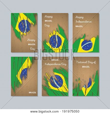 Brazil Patriotic Cards For National Day. Expressive Brush Stroke In National Flag Colors On Kraft Pa