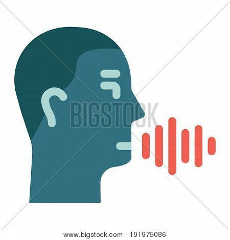 Speech recognition flat icon, voice control and security, vector graphics, a colorful solid pattern on a white background, eps 10.