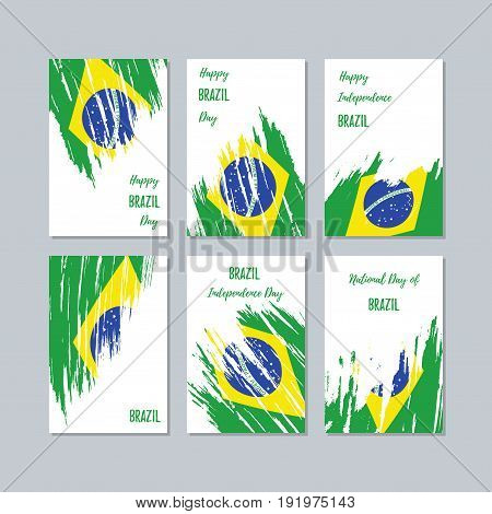 Brazil Patriotic Cards For National Day. Expressive Brush Stroke In National Flag Colors On White Ca