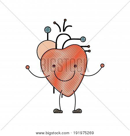 color crayon silhouette caricature with happy face circulatory system with heart vector illustration