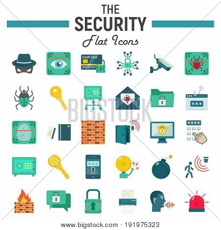 Security flat icon set, cyber protection symbols collection, safety vector sketches, logo illustrations, colorful solid pictograms package isolated on white background, eps 10.