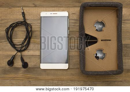 cardboard virtual reality glasses headset top view
