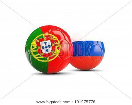 Two Footballs With Flags Of Portugal And Russia Isolated On White