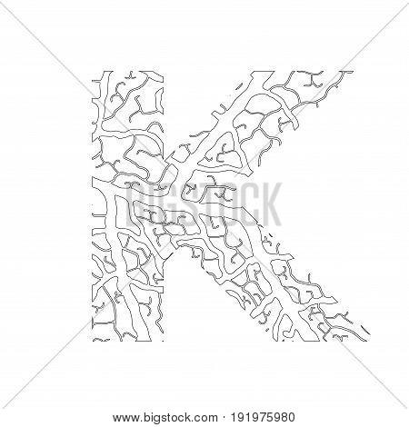 Nature Alphabet, Ecology Decorative Font. Capital Letter K Filled With Leaf Veins Pattern Black On W