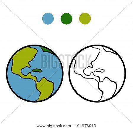 Coloring book for children, vector cartoon Earth
