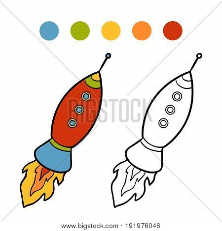 Coloring book for children, vector cartoon Spaceship