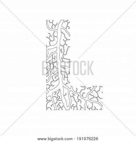 Nature Alphabet, Ecology Decorative Font. Capital Letter L Filled With Leaf Veins Pattern Black On W