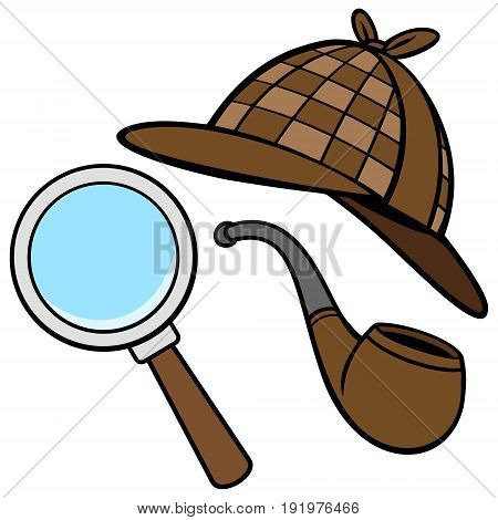 A vector illustration of a Detective Hat, Pipe, and Magnifying Glass.