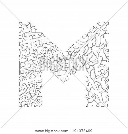 Nature Alphabet, Ecology Decorative Font. Capital Letter M Filled With Leaf Veins Pattern Black On W