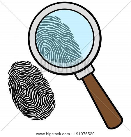 A vector illustration of a Magnifying Glass with Fingerprint.