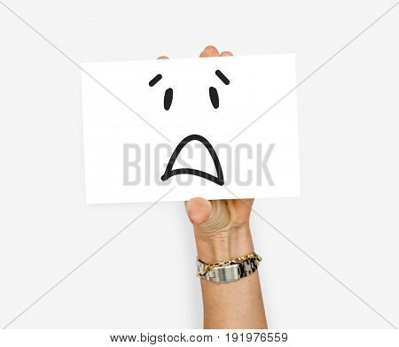 Illustration of awful sadness face on banner