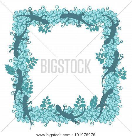 Gecko Silhouette lizard. Square flower frame. Vector illustration isolated on white background.