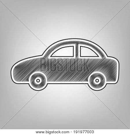 Car sign illustration. Vector. Pencil sketch imitation. Dark gray scribble icon with dark gray outer contour at gray background.