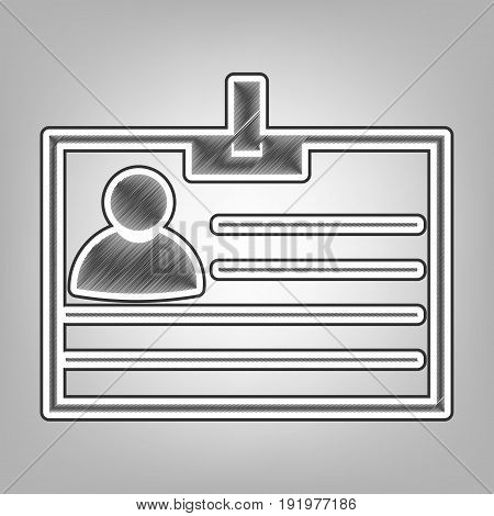 Id card sign. Vector. Pencil sketch imitation. Dark gray scribble icon with dark gray outer contour at gray background.