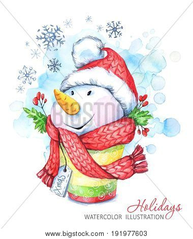 Winter holidays illustration. Watercolor cartoon Snowman in the hat and scarf. Christmas, New Year symbol. Can be printed on T-shirts, bags, posters, invitations, cards, phone cases, pillows.