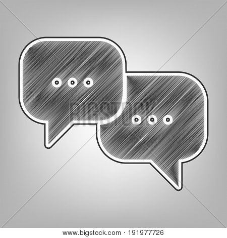 Speech bubbles sign. Vector. Pencil sketch imitation. Dark gray scribble icon with dark gray outer contour at gray background.